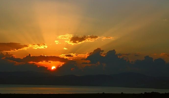 Закат у озера Кинерет